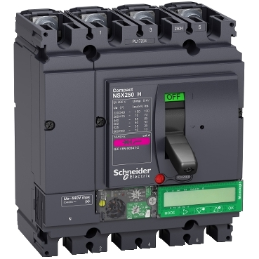 Compact NSX molded case circuit breakers (MCCB) 250 H 4P with Micrologic Vigi 7.2 E